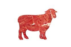 sheep shaped meat on isolated background, Muslim holiday Eid al-Adha, Kurban Bayram, lamb t cuts, fresh raw lamb steak, Luxury lamb, Fresh meat cut up into steaks, Eid al-Adha