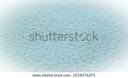 Sheer blue net-like tulle. Mesh fabric. Close-up. Blue veil or muslin. Close-up of a curtain with holes of different sizes. Abstract background. White vignetting around the edges