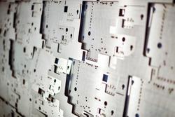 Sheet metal pieces cutted. Laser CNC machine. High precision cutting steel.
