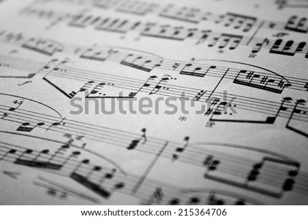 Sheet Music Background Musical Notes  with selective focus