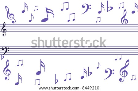 Sheet Music Background Notes And Music Symbols With Sheet Music In