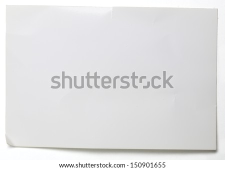 sheet of crumpled glossy paper isolated on white . #150901655