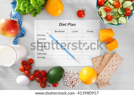 Sheet of Diet Plan and fresh products on wooden table, top view #413980957
