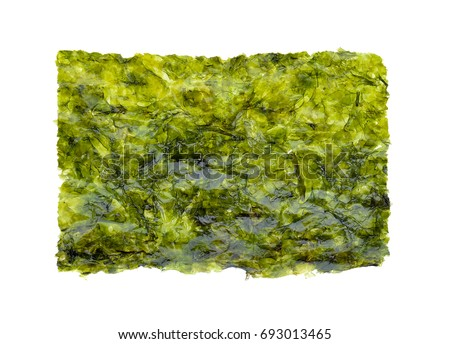Sheet of dried seaweed, Crispy seaweed isolated on white background.