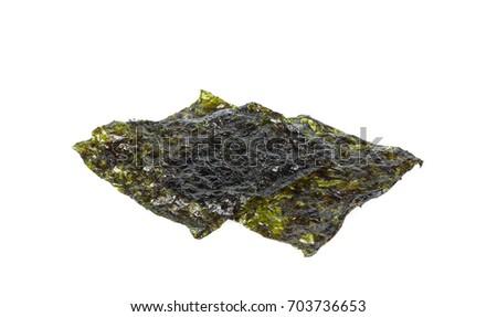 Sheet of dried seaweed, Crispy seaweed isolated on white background