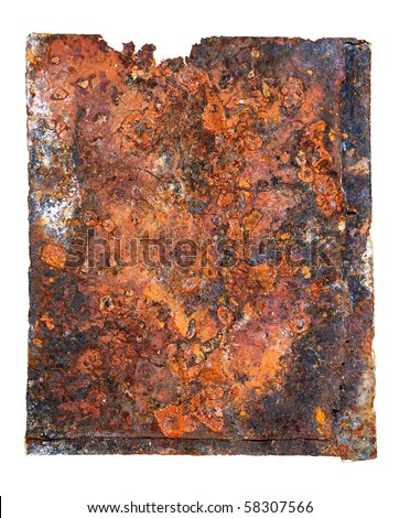 Sheet of ferruginous metal. Isolated on a white background
