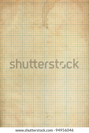 Sheet of graph paper stained by coffee background