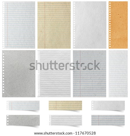 Sheet of Lined Paper and note paper craft stick, isolated on white background ( Objects with Clipping Paths for design work )