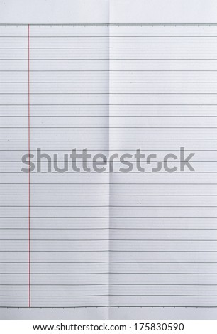 Sheet of lined paper or notebook paper texture with left margin and folded in four