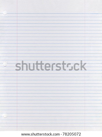 Sheet of looseleaf paper