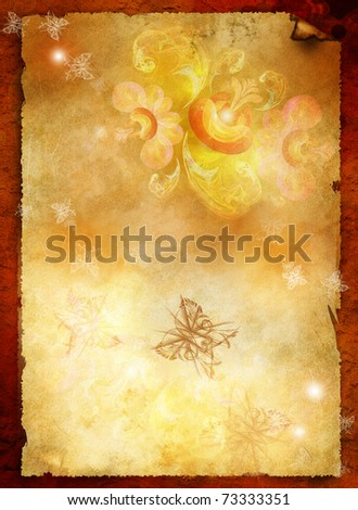 Sheet of old paper with Fairy-tale, luminous flower