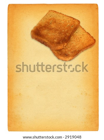 sheet of old paper with toast bread motif