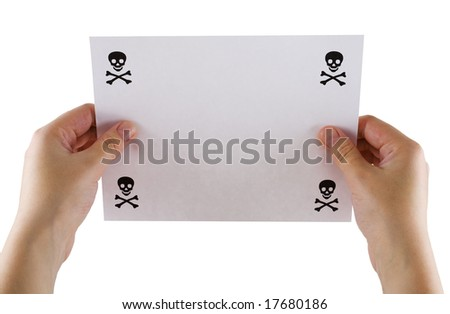 Sheet of paper in hands with the image jolly Roger on a white background