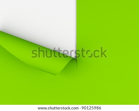 Sheet of paper with curled corner.