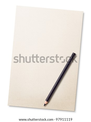 sheet of paper with pencil isolated on white