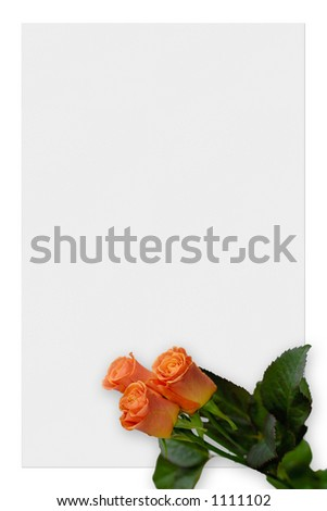 Sheet of paper with pink roses, love letter background border