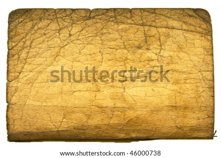 sheet of vintage book isolated on white background