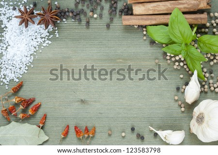 sheet paper and spices, food ingredients on wooden table background