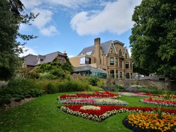Sheffield Botanical gardens flowers beds Sheffield South Yorkshire UK