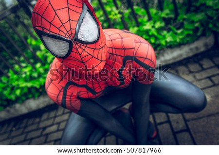 stock photo sheffield uk june cosplayer dressed as spiderman from the marvel series at the 507817966 - Каталог — Фотообои «Для детской»