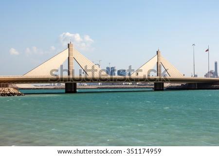Sheikh Isa Bin Salman Causeway Bridge in Manama, Kingdom of Bahrain, Middle East  #351174959