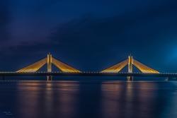 Sheikh Isa bin Salman Causeway Bridge, Manama, Bahrain - October 16 , 2019 : Beautiful night view of Muharraq Bridge