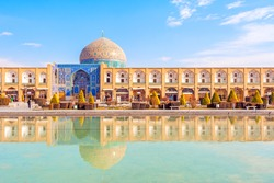 Sheikh Lotfollah Mosque at Naqsh-e Jahan Square in Isfahan, Iran. Construction of the mosque started in 1603 and was finished in 1618.