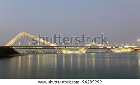 Sheikh Zayed Bridge at night, Abu Dhabi, United Arab Emirates - stock photo