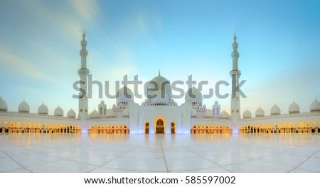 Stock Photo Sheikh Zayed Grand Mosque at dusk, Abu-Dhabi, UAE