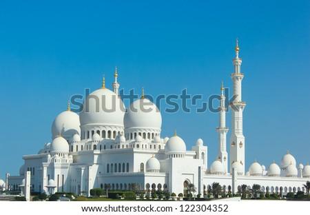 Sheikh Zayed Grand Mosque in Abu Dhabi, the capital city of United Arab Emirates