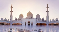 Sheikh Zayed Grand Mosque panoramic view at dusk in Abu Dhabi - UAE
