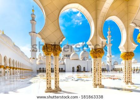 Stock Photo Sheikh Zayed Mosque, Abu Dhabi, United Arab Emirates