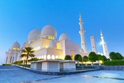 Sheikh Zayed mosque  in Abu Dhabi at night, United Arab Emirates