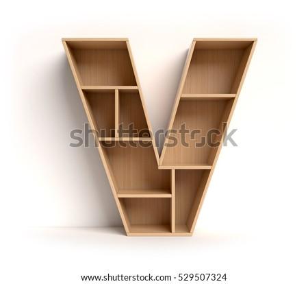 Shelf Font 3d Rendering Letter 4