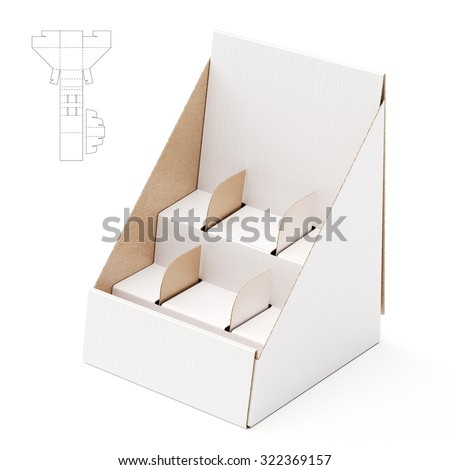 Shelf Stand Box With Counter Display And Die Line Template Round Cardboard
