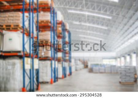 Shelf Storage in hypermarket interior : blur background