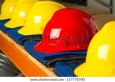shelf with a  row of clean clothing for the working class