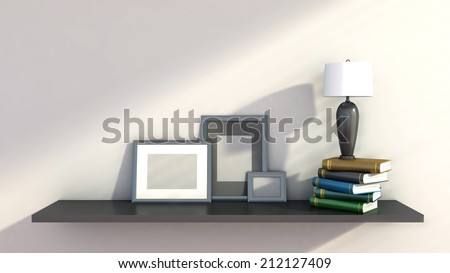 shelf with books and lamp