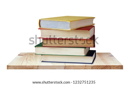 Shelf with books isolated on white background. Textbooks in color covers. Library, education, study. #1232751235