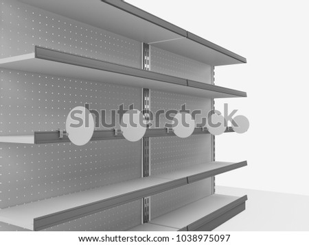 Shelf With Circle Wobbler. 3D rendering
