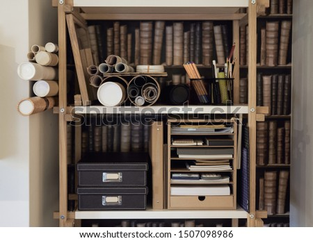 Shelf with drawing supplies and miscellaneous items #1507098986