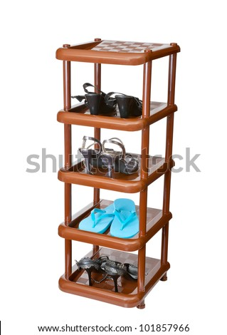 Shelf with footwear a white background