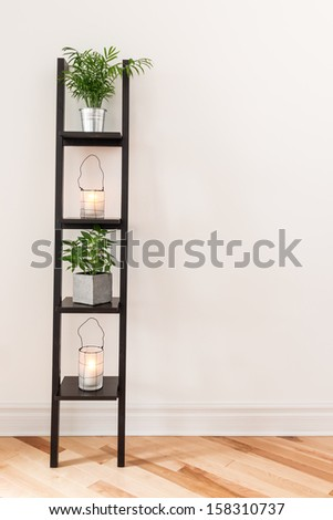 Shelf with plants and lanterns decorating a living room.