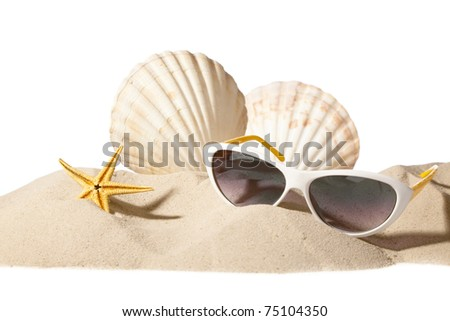 shell and sunglasses on beach, isolated on a white background,with a lot of copy-space