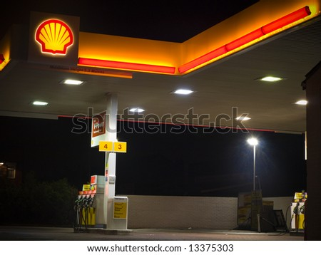 Shell Petrol Gas Station Forecourt at Night For Editorial Use Only