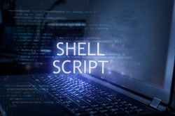 Shell script inscription against laptop and code background. Technology concept. Learn programming language.