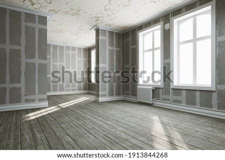 Shell walls in drywall renovation of old building (3d rendering)
