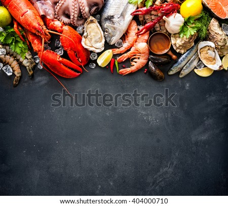 Shutterstock Shellfish plate of crustacean seafood with fresh lobster, mussels, oysters as an ocean gourmet dinner background