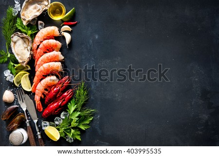 Shutterstock Shellfish plate of crustacean seafood with shrimps, mussels, oysters as an ocean gourmet dinner background