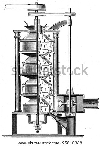 Shelling Machine - an illustration of the encyclopedia publishers Education, St. Peterburg, Russian Empire, 1896